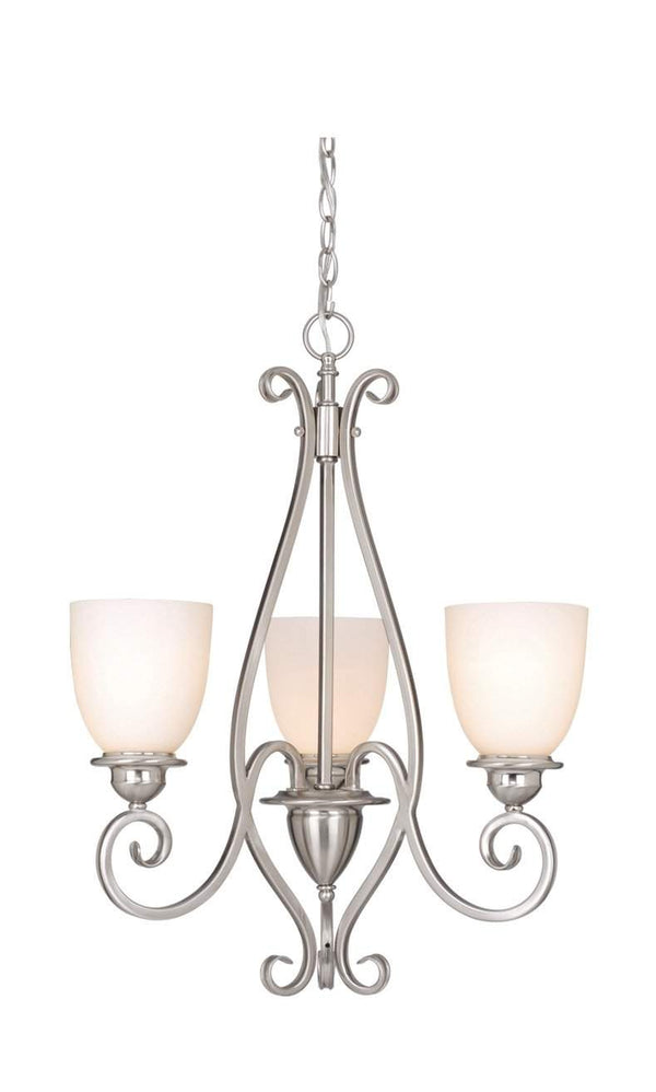 The Vaxcel Mont Blanc 3L Chandelier in Satin Nickel Finish CH35903SN