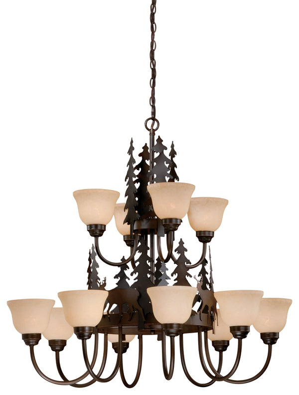 The Vaxcel Bryce 12L Chandelier in Burnished Bronze Finish CH55412BBZ