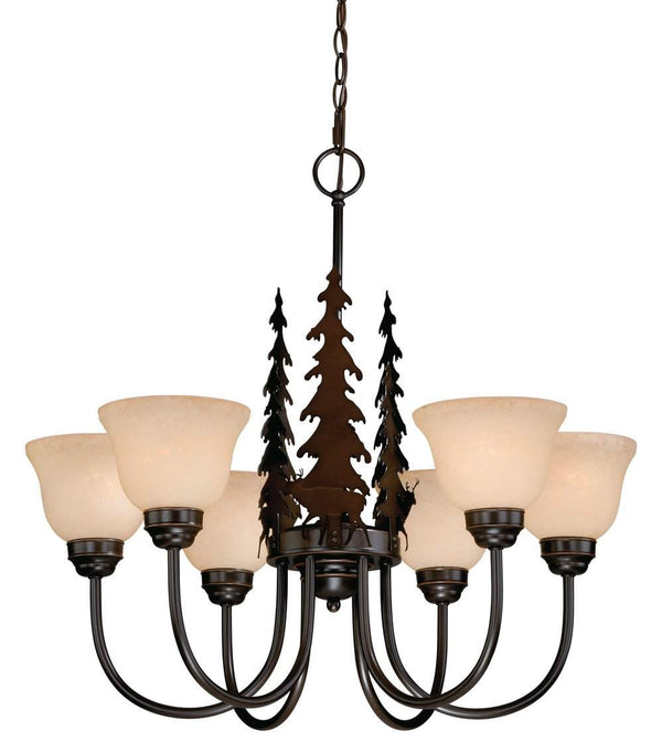 The Vaxcel Bryce 6L Chandelier in Burnished Bronze Finish CH55456BBZ