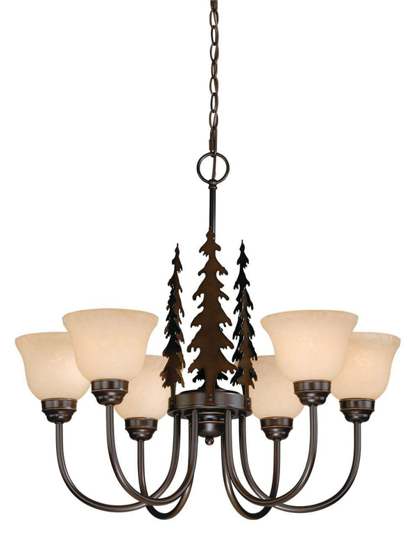 The Vaxcel Yosemite 6L Chandelier in Burnished Bronze Finish CH55556BBZ