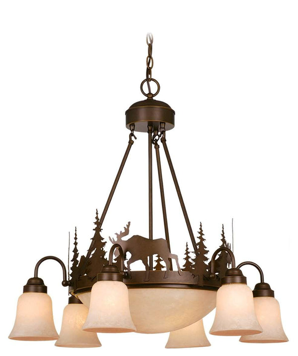 The Vaxcel Yellowstone 9L Chandelier in Burnished Bronze Finish CH55606BBZ