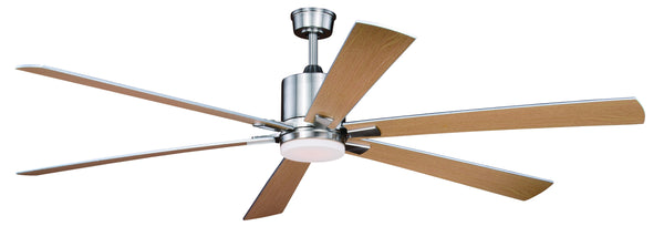 "The Vaxcel Wheelock 72"" Ceiling Fan in Brushed Nickel Finish F0051"