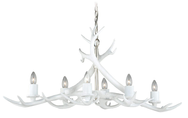 VL  Vail 6L Antler Island Light in White, Polished Nickel Finish H0161N""