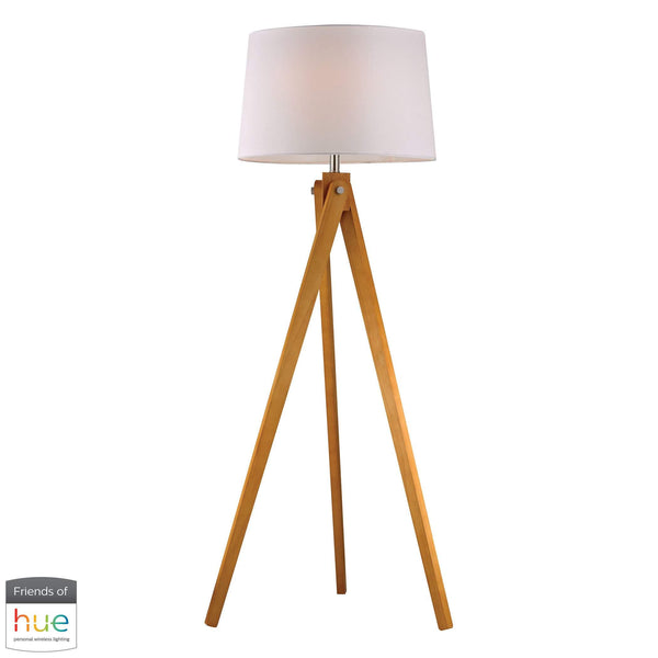 Wooden Tripod Floor Lamp in Natural Wood Tone - with Philips Hue LED Bulb/Dimmer
