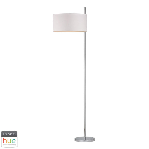 Attwood Floor Lamp in Polished Nickel - with Philips Hue LED Bulb/Dimmer
