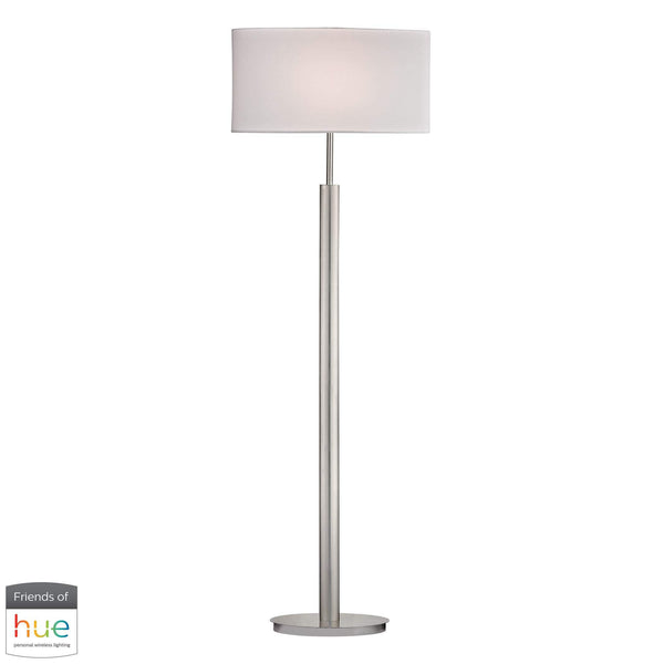 Port Elizabeth Floor Lamp in Satin Nickel - with Philips Hue LED Bulb/Dimmer