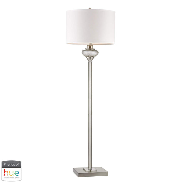 Edenbridge Antique Mercury Glass Floor Lamp with LED Nightlight - with Philips Hue LED Bulb/Dimmer