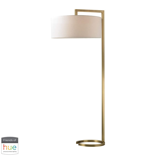 Ring Base Floor Lamp in Antique Brass - with Philips Hue LED Bulb/Dimmer