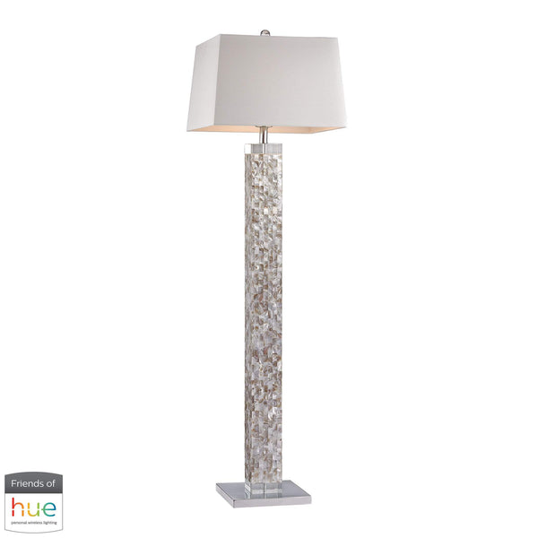 Mother of Pearl Floor Lamp - with Philips Hue LED Bulb/Dimmer
