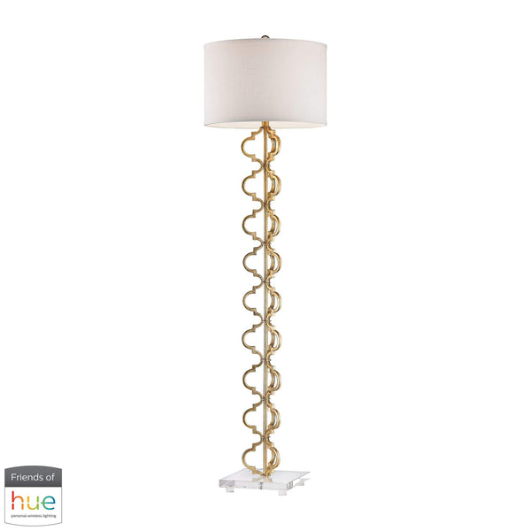Castile Floor Lamp in Gold Leaf - with Philips Hue LED Bulb/Dimmer