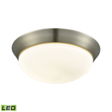 Contours 1 Light LED Flushmount In Satin Nickel And Opal Glass - Large
