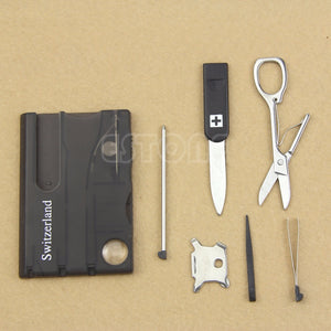 Mini Multifunctional Survival Card w/ LED Light Magnifier