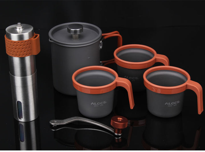 Manual Mini Coffee Pot Maker and Grinder Outdoor for Travel
