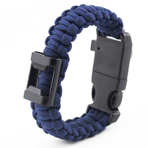 Paracord Bracelet w/Bottle Opener, Hiking Scraper, Emergency Whistle, Compass, Fire Starter