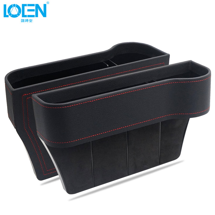 Black Leather Tidying Side Console With Cup Holder