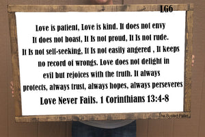 Love is Patient and king sign