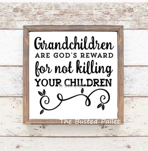Grandkids Wood Framed Wall Art