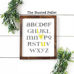 ABC I love You Nursery Wood Sign