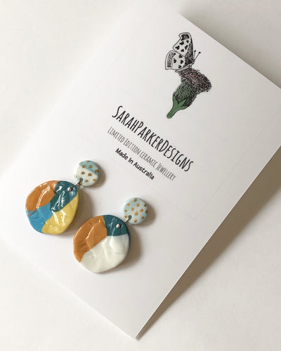 Drop earrings- feathers and rock design