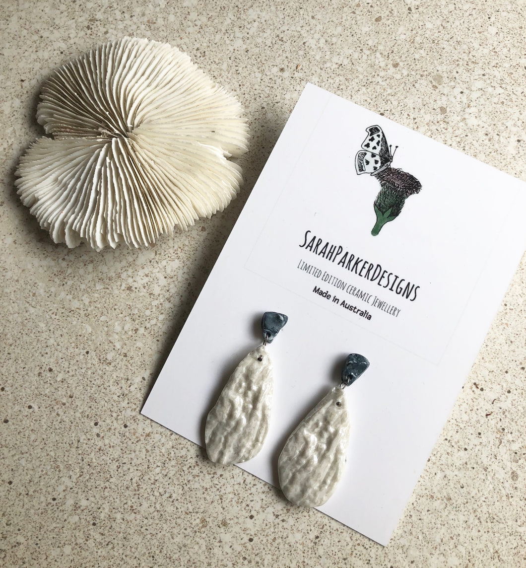 Porcelain shell impressed drop earrings