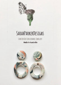 Drop earrings - multicolour marble