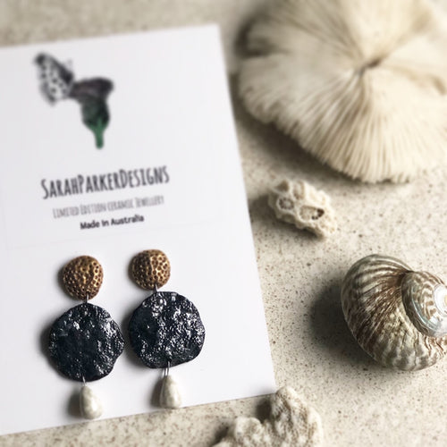 Black coral earrings with white pearl drop