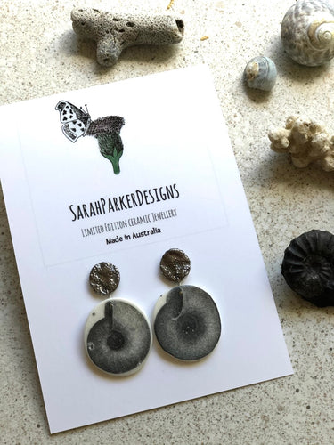Mollusc silver drop earrings