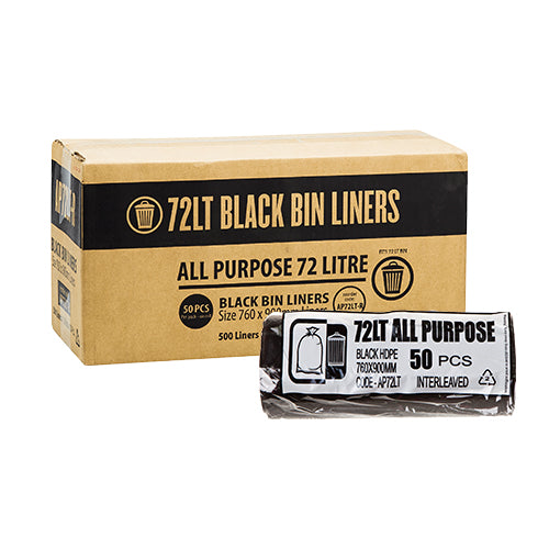72L Black Garbage Bags AP – Roll