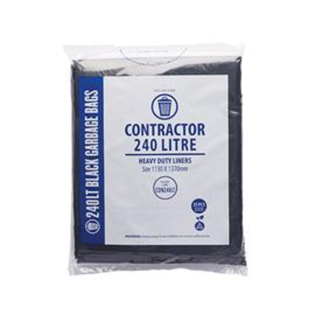 240L Contractor Black Garbage Bags