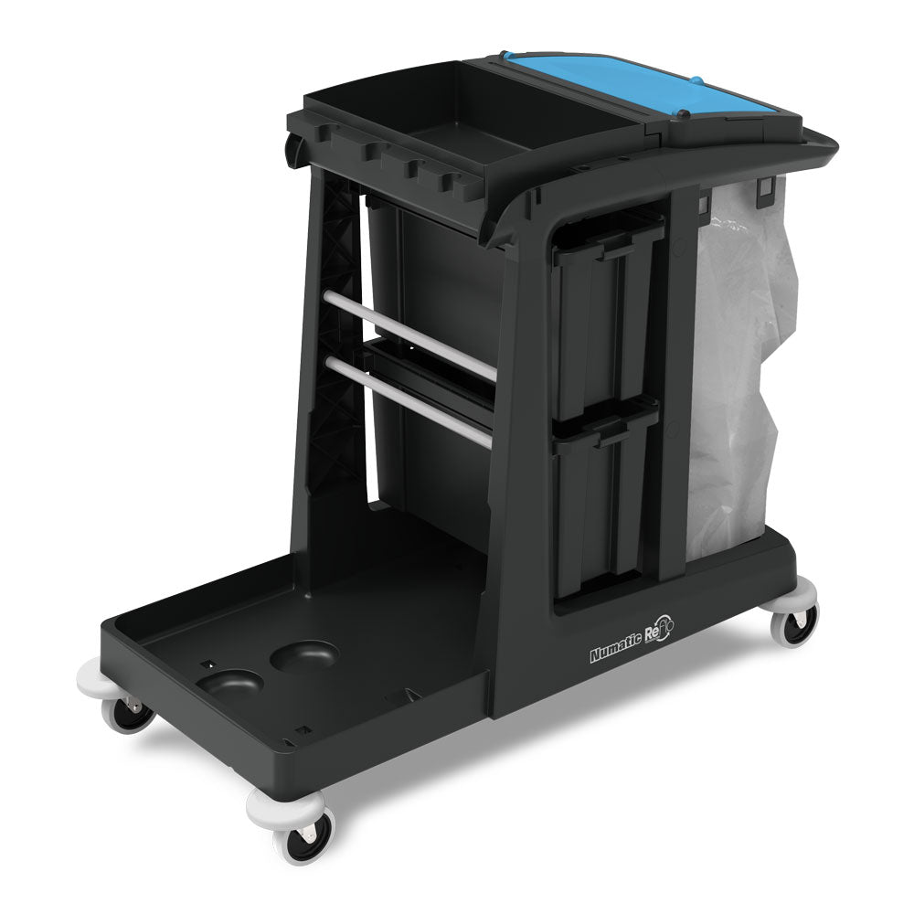 NUMATIC ECO-MATIC CLEANING TROLLEY W/ LOCKING DRAWERS (1 ONLY)