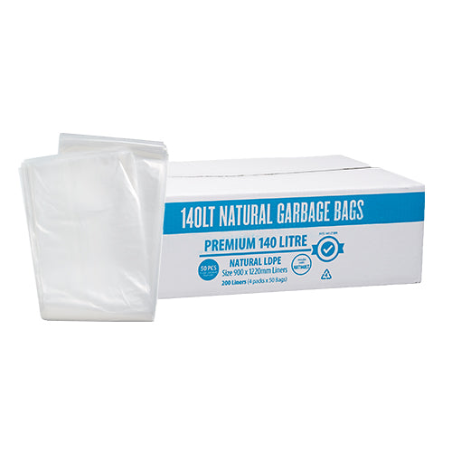 140L Premium Clear Natural Garbage Bags