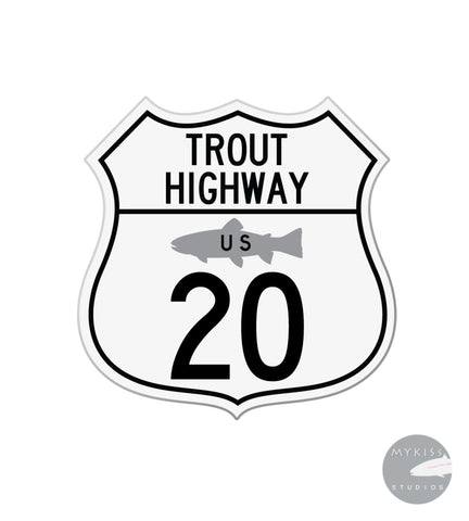 "Trout Highway US 20 3""X 3"""