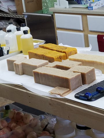 Fresh Cut Soaps on the Work Table at Buck Ridge Soap Company workshop.