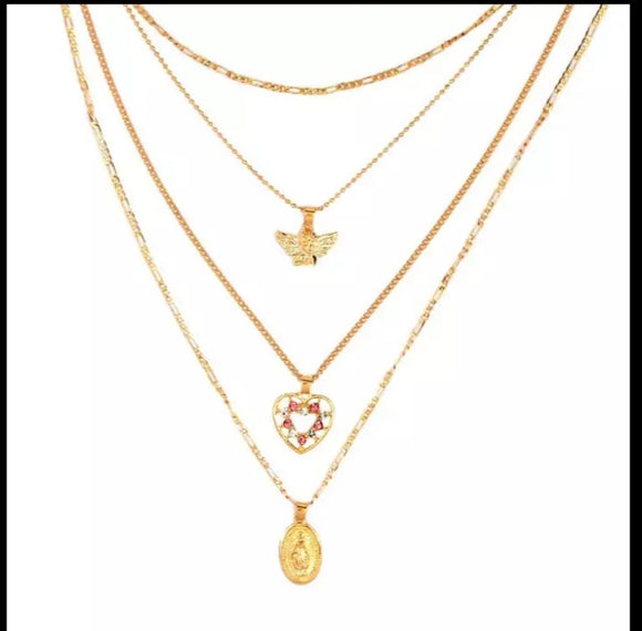 Angel and Mary Necklace Set