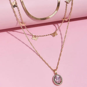 Pink Diamond Necklace Set