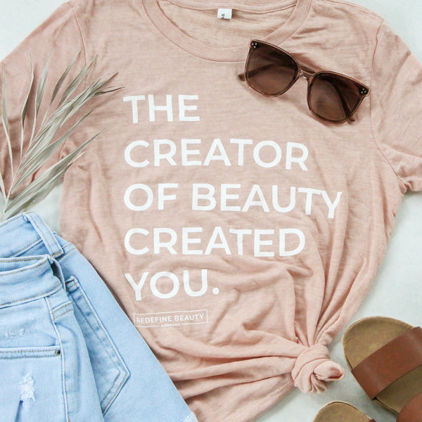 The Creator of Beauty Tee - Peach