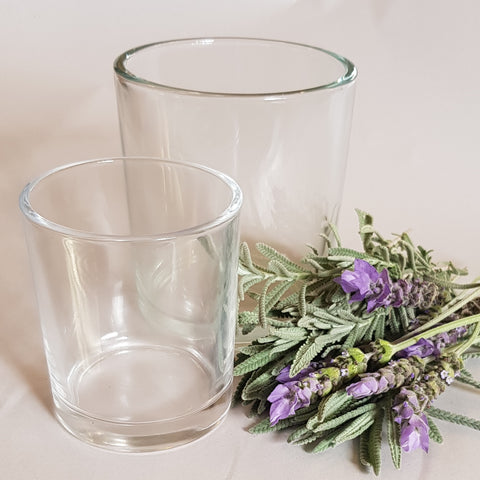 candle glass for embedded lavender flowers