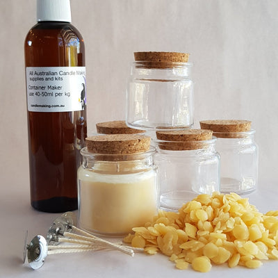 Stubby Glass with Cork lid - Beeswax Blend Candle Making Kit