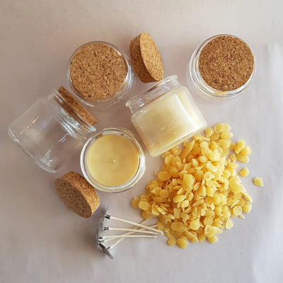 Stubby Glass with Cork lid - 100% Pure Beeswax Candle Making Kit