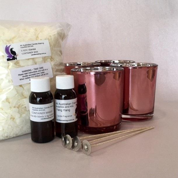 Soy Candle Making Kit with 4 Rose glasses