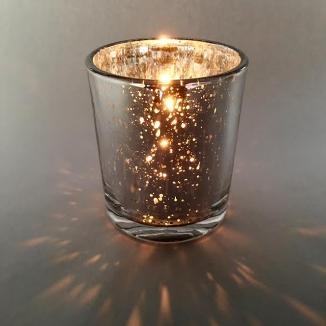 Medium-Large Candle Glass - Silver Sparkle