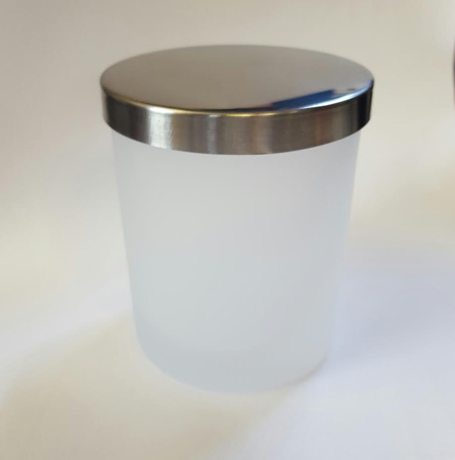 SPECIAL 12 Small-Medium Candle Glass - Frosted/Silver Lid