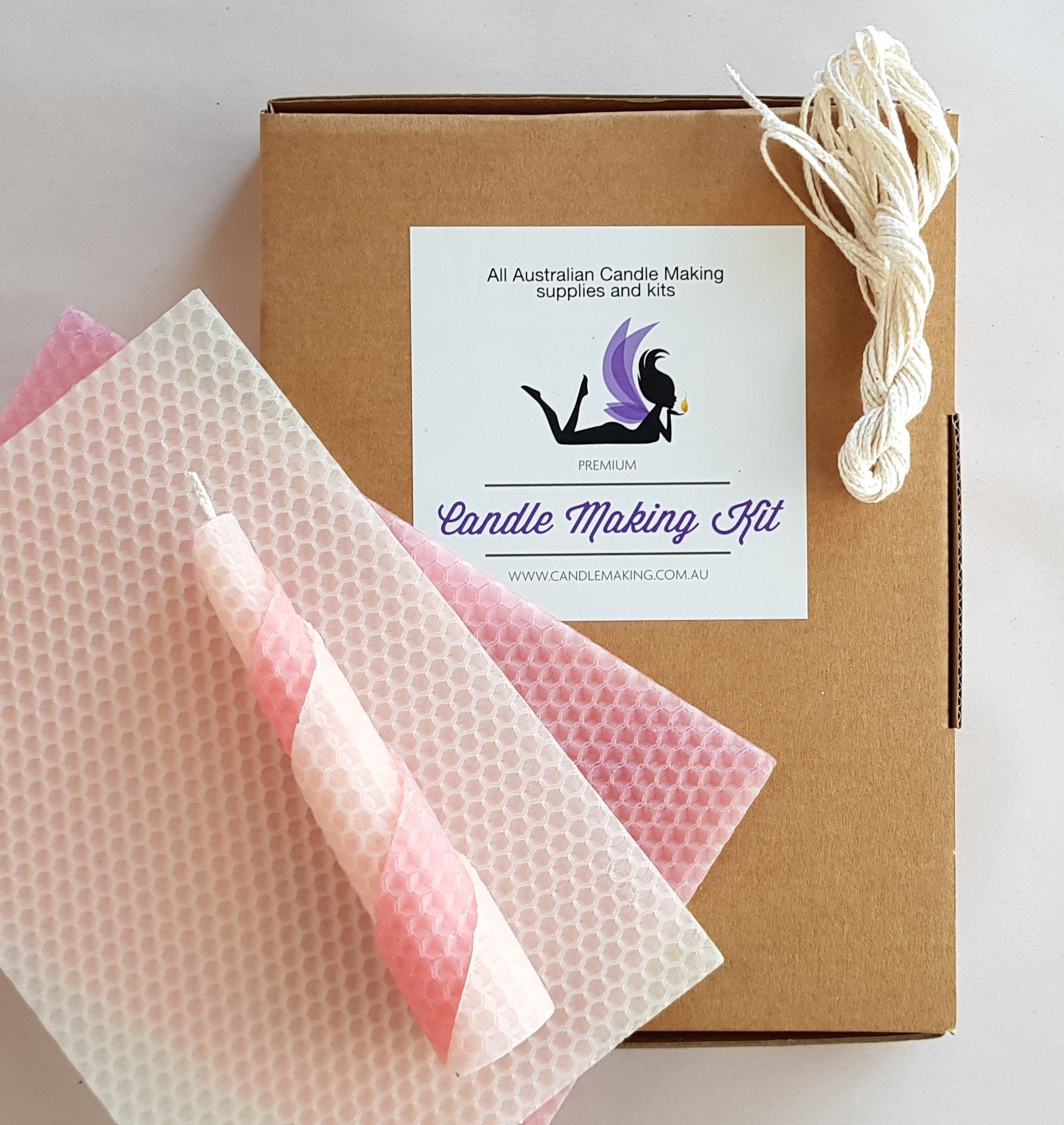 Beeswax Candle Making Kit - 12 pink/calico sheets