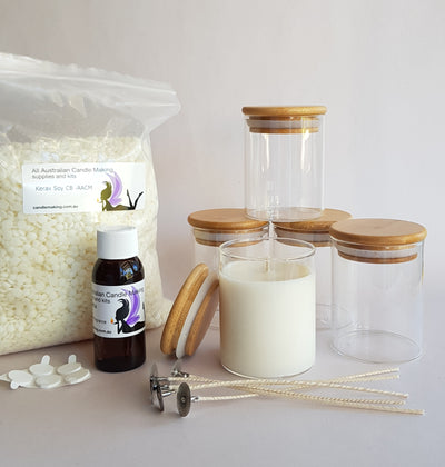 Country Bamboo MEDIUM Glass with lid - Soy Candle Making Kit with 100% Soy Wax**