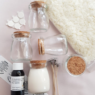 Milk Bottle Glass (Small) with Cork lid - Soy Wax Candle Making Kit