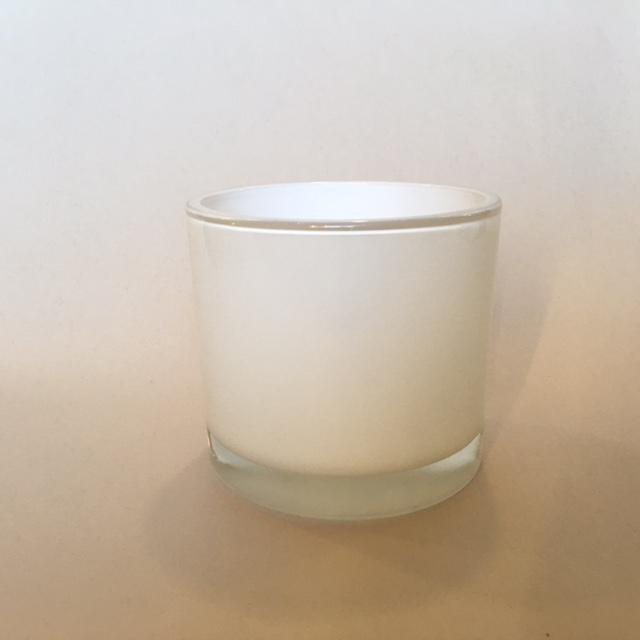 Large Short Candle Glass - White