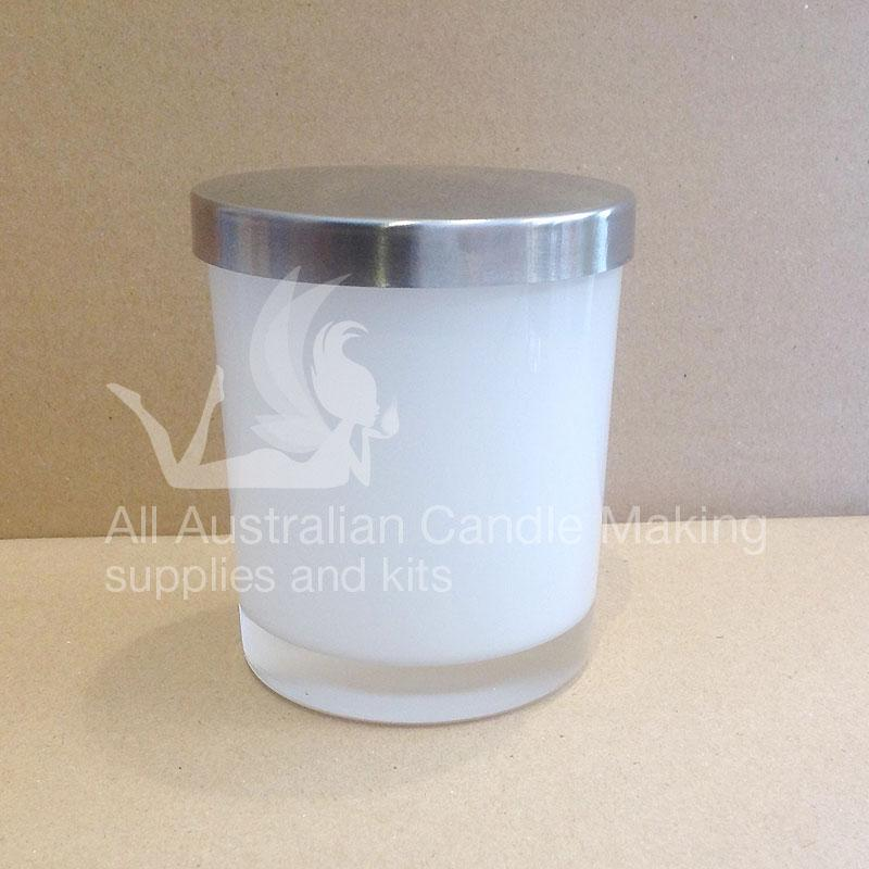 SPECIAL 12 Small-Medium Candle Glass - White/Silver Lid