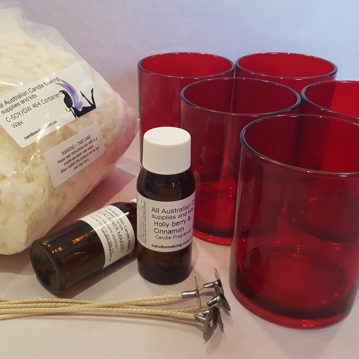 Christmas Soy  Candle Making Kit - 5 red glasses