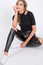 Black Leather Leggings cutout knee