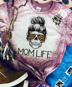 Skull mom life tee purple bleached